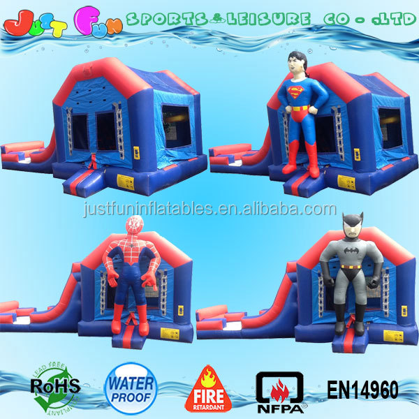 5 in 1 inflatable super heroes combo jumping bounce house slide with basketball inflatable superhero bounce house combo