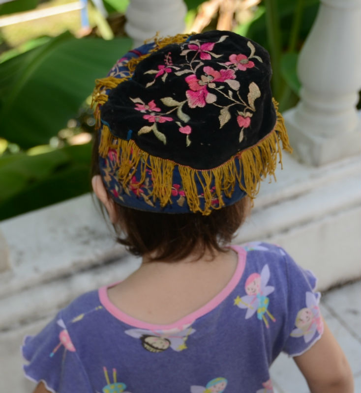 Vintage HMONG Hill Tribe Children Hat Hand Woven Thailand