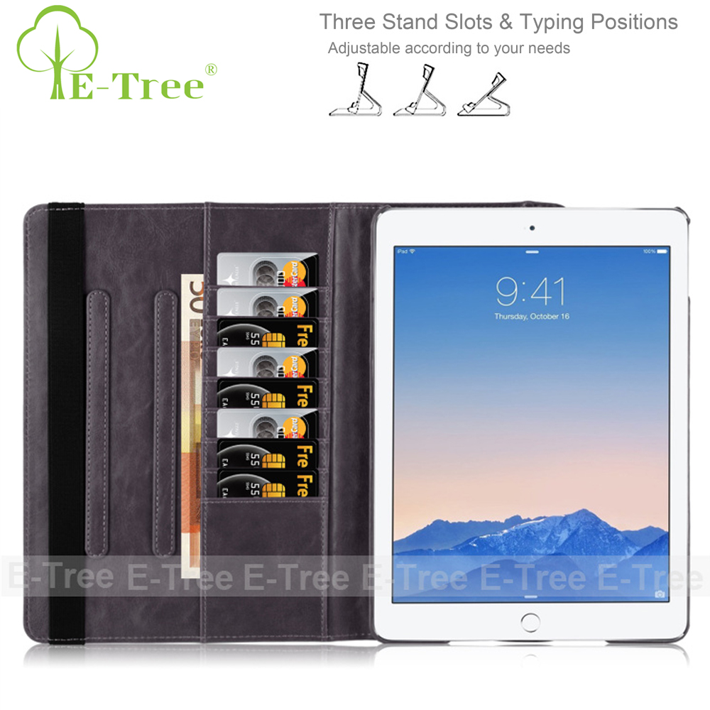 Customized Leather 360 Rotate Stand Card Slot Magnetic Smart Tablet Case For iPad Mini 2 3 4 / AIR 1 2 / PRO