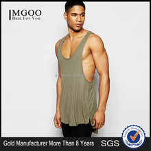 MGOO Drapey Rib Super Longline Vest With Extreme Racer Back In Khaki Custom Design Men Eco-friendly Tank Top In Ameircan Size