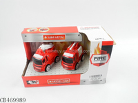 Inertial MINI Toy Fire Die Cast Cartoon Model Car Small Metal Truck