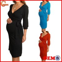 Women Maternity Dress V Neck Pregnancy