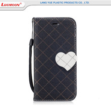 Good quality leather flip stand wallet case with strap for Huawei p8/9/10 lite hir color grid pattern pu+tpu mobile phone cases