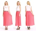 2018 Pink latest design long chiffon pleating skirt