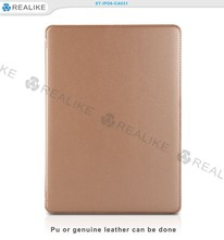 Beautifully designed nice stiching precise camera hole site leather tablet case for ipad 7 with stand