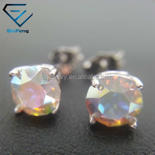 SS24 Round shape Rainbow Topaz Crystal Gold Plated Silver Filled Fashion Jewelry Stud Earrings