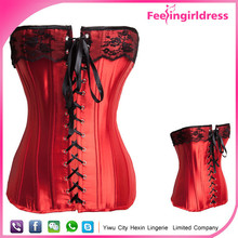 Hexin Fashion Sexy Red Lace Steel Boned Wholesale Cheap Big Girl Sexy Corset