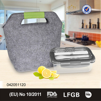 fashion felt bag and heat resistant glass container for food with cutlery lid