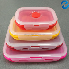 Hot Selling Microwave Safe 4pack Collapsible Silicone Food Container