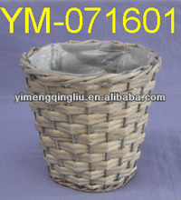 Round Wicker Flower Basket with Plastic Liner