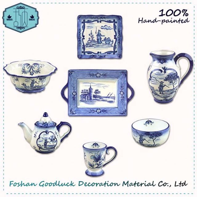 Famous Pottery Rural Landscape Blue 8 Piece Chinese Dinner Set