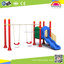 Outdoor Playground Kids Backyard Small Size Slide With Swings