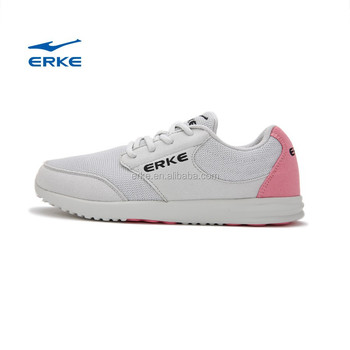 ERKE latest women classical running shoes white cross training shoes with breathable upper and skidproof outsole wholesale