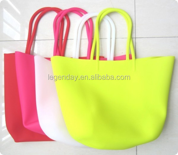 Cheap colorful silicone shopping bags silicone beach bags for women