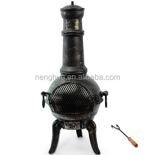 Cast Iron Chiminea with Metal wire mesh Fire Pit