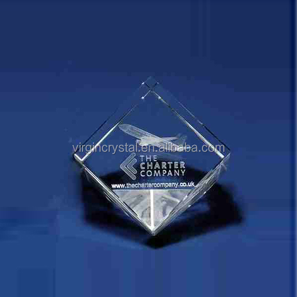 Wholesale Plane Iamge 3d laser engraved glass crystal cube