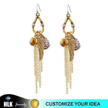 Latest Jewelry champagne gold wing chain tassel hanging earrings
