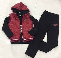 Children winter collection black long sleeve T-shirt and pants quilted red vest boys fleece 3pc suits