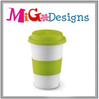 Wholesale Green Ceramic Tumbler With Silicone Lid And Base