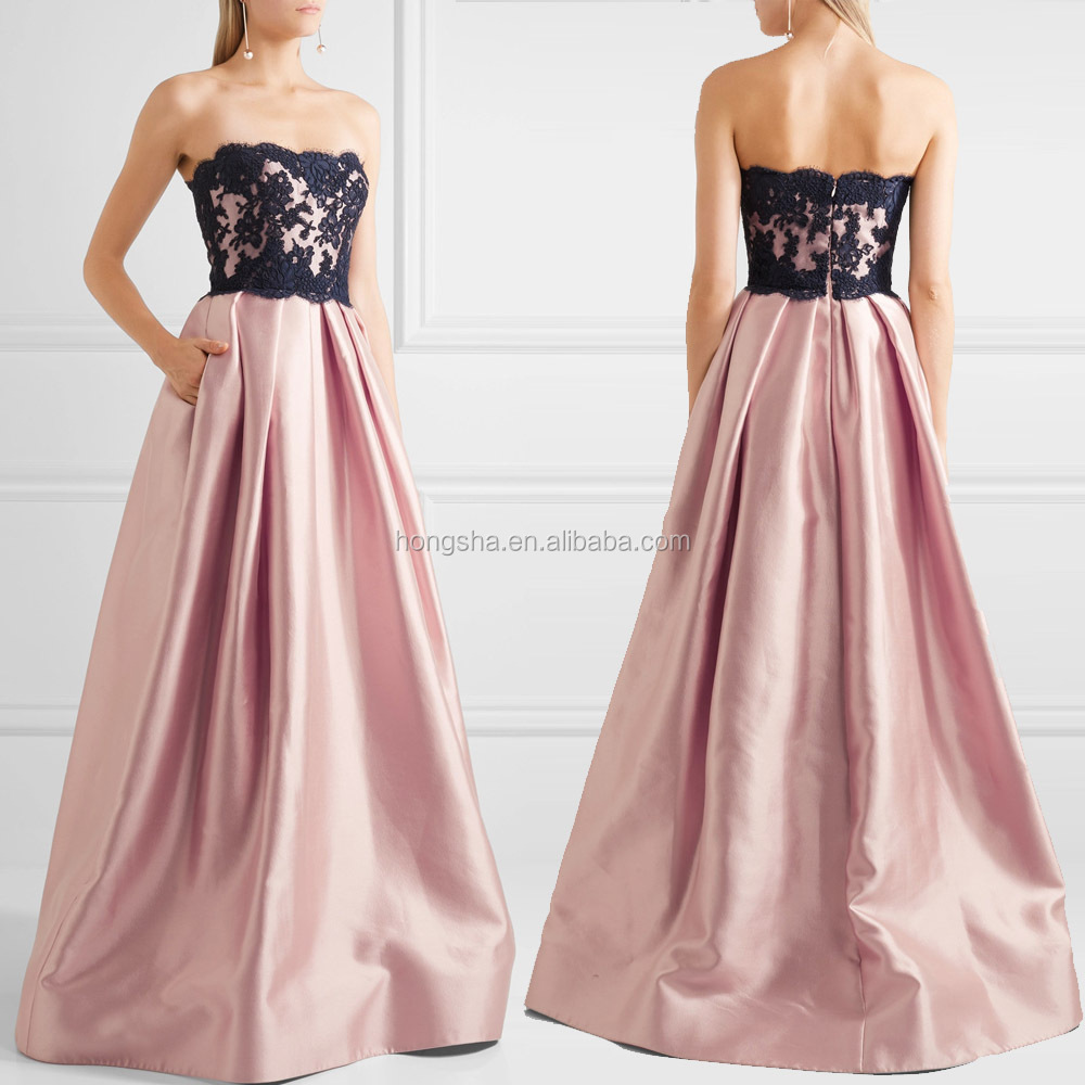 Strapless Silk-blend And Lace Gown Ladies Long Evening Night Party Wear Gown Without Dress Sexy Girls Photo HSD5895