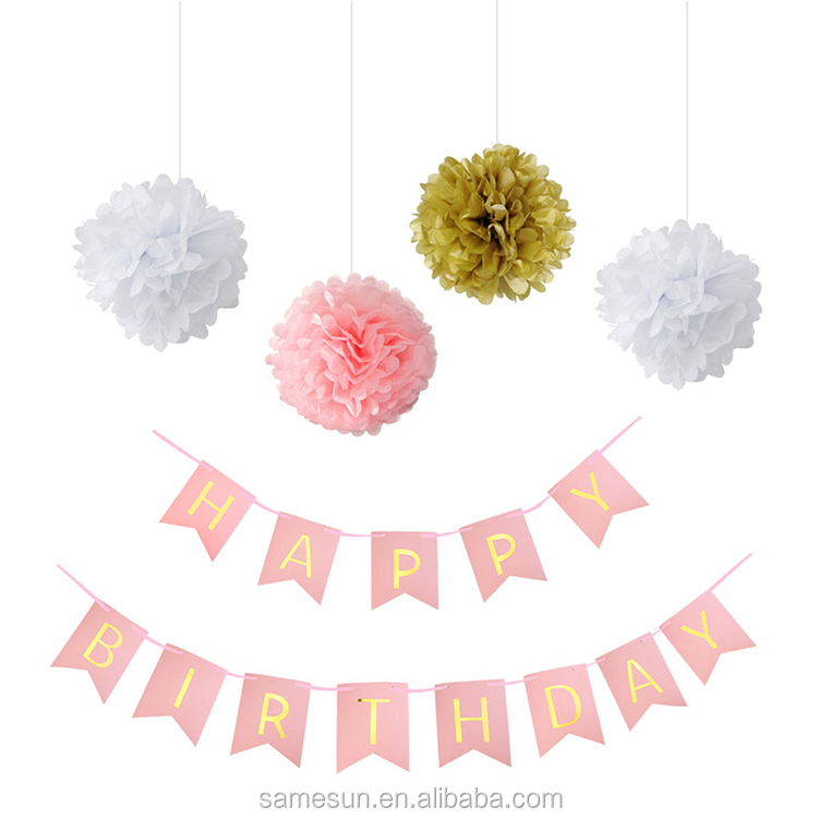 Tissue Paper Pom Poms And Happy Birthday Banner for Kids Birthday Party Decoration Set