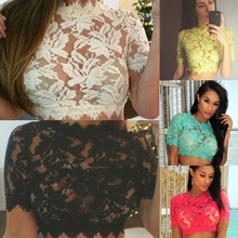 C57680S New Fashion Women's Tops Short Sleeve lace lady crop tops