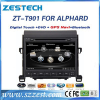 ZESTECH Factory OEM CE/FCC/ROHS certification and 9 inch HD touch screen car dvd for TOYOTA ALPHARD