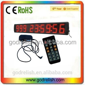 "Godrelish Semi-outdoor 5"" 9 digits led countdown timer wall clock"