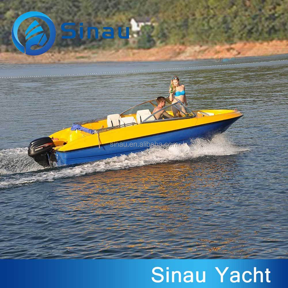China made high quality fiberglass fishing boat with outboard motor and center console