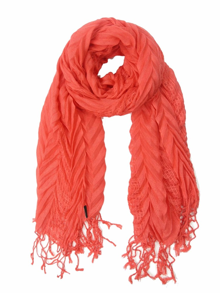 Orange Red Slim Spring Summer Fall Colorful Plain Solid Polyester Pleat Women Girls Female Scarf Shawl Muffler