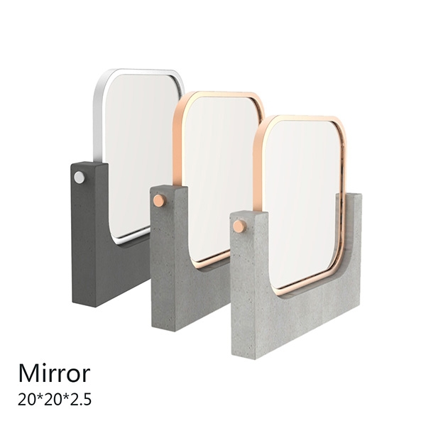 Rotatable metal frame oblong concrete base plate concrete makeup mirror