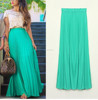 Women's Fashion Chiffon Candy Color Long Maxi Pleated Beach Skirts Party Skirts