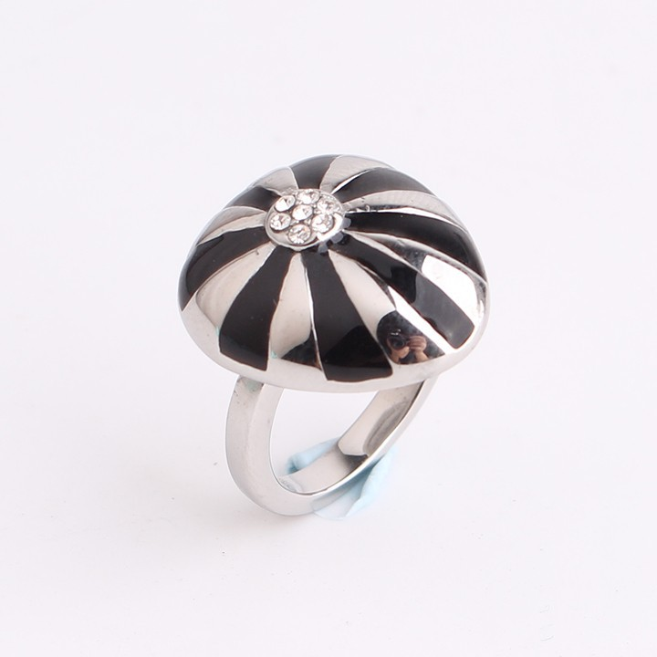 Domineering stripe Mushroom umbrella rhinestone 316L Stainless Steel finger rings for men women jewelry wholesale