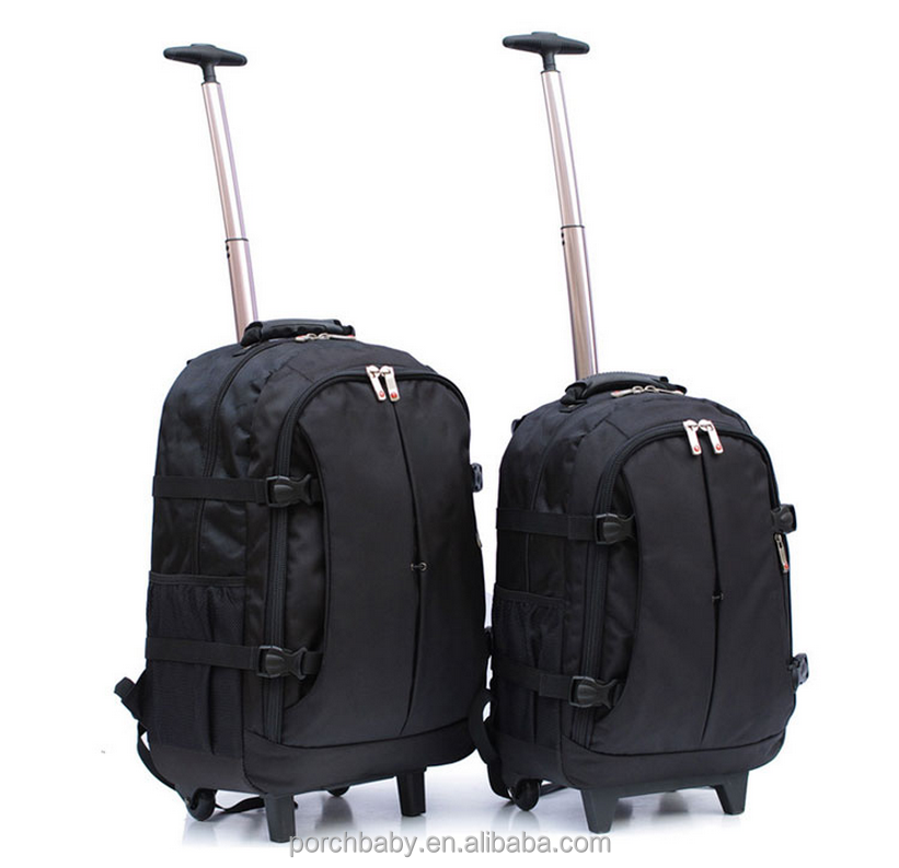 Two size rolling laptop bag trolley, travel briefcase laptop bag with trolley strap