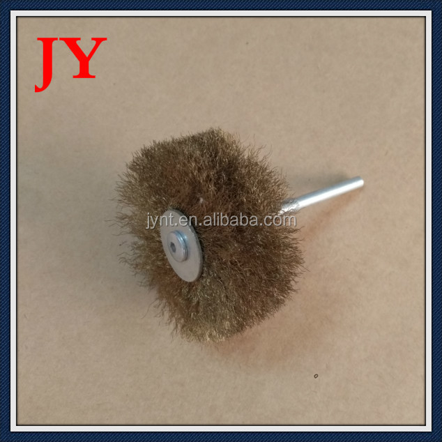 wood polishing abrasive wire brush wheel with shaft