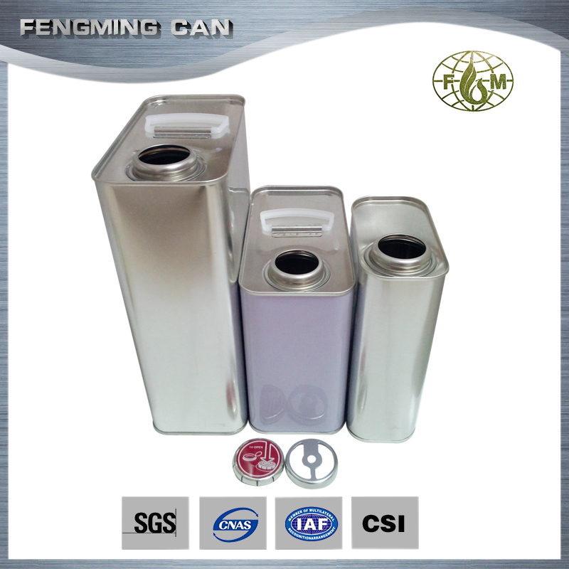 3L metal material plain rectangular tin can for oil packaging