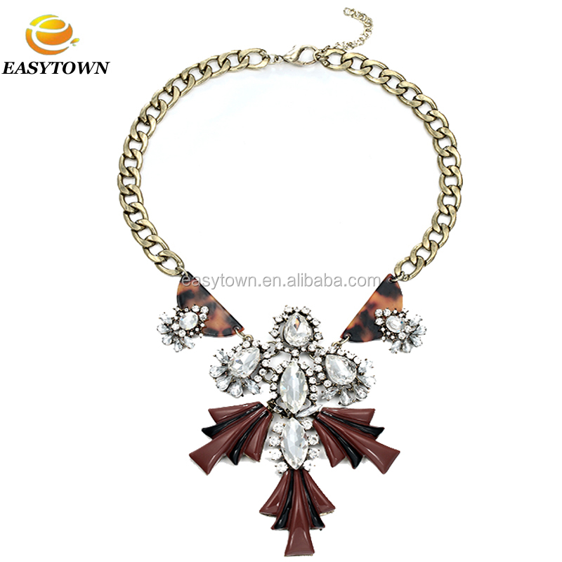 Fashion New Design Gold Chain Crystal Diamond Statement Necklace Jewellery