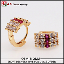 JN1043 Excellent quality lady brass copper purple zircon gold plated hoop latest model fashion earrings