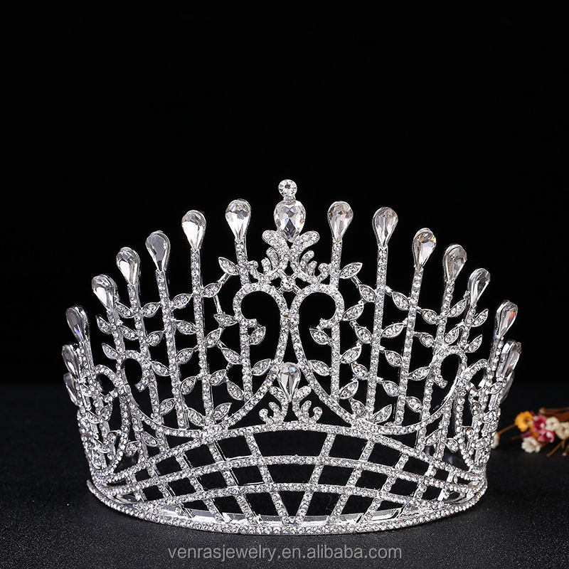 Women's 4.5inches High Tall Beauty Pageant Queen Royal Full Crown - Silver Plated Clear Crystals