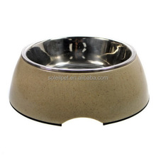 Wholesale Bamboo Fiber Stainless Steel Suction Cup Pet Bowl