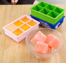 BPA Free Hot Selling 6 Large Square Silicone Ice Blocks Moulds