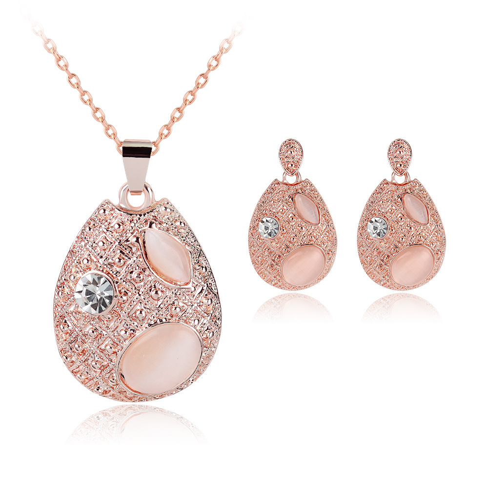 Golden Plated Crystal Necklace Earrings Bride Wedding Jewelry Set
