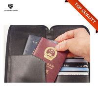 Genuine Leather Men's Travel Wallet Passport/Rfid Passport Wallet/Ticket Wallet