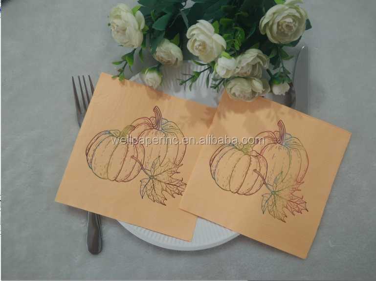 TROLIR Luncheon Napkins,  Orange With Gold Foil, 2Ply, Pack of 50 Decorative Paper Napkins 16*16'', Stamped With Sparkly Gold