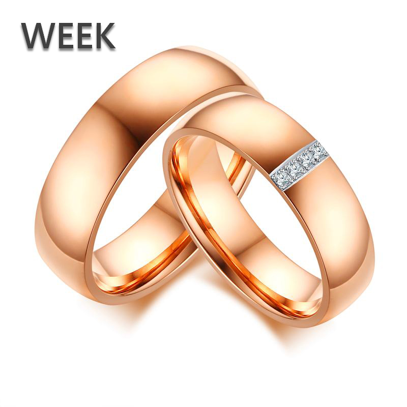 6mm Week Rose Polished Stainless Steel Rings Jewelry Sweethearts Accessories For Women and Men