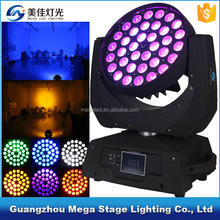 professional RGBWA+UV 36x18w 6in1 zoom led wash moving head stage lighting