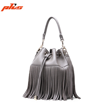 2016 Fashion Cheap Drawstring Genuine Leather Lady Shoulder Bucket Bag with Tassels