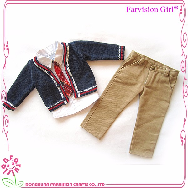 Apricot doll clothes wholesale fit for boy dolls, doll suit made in china