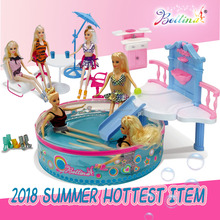 2018 Newest BETTINA DIY Fashion Doll with Swimming Pool and Doll Furniture