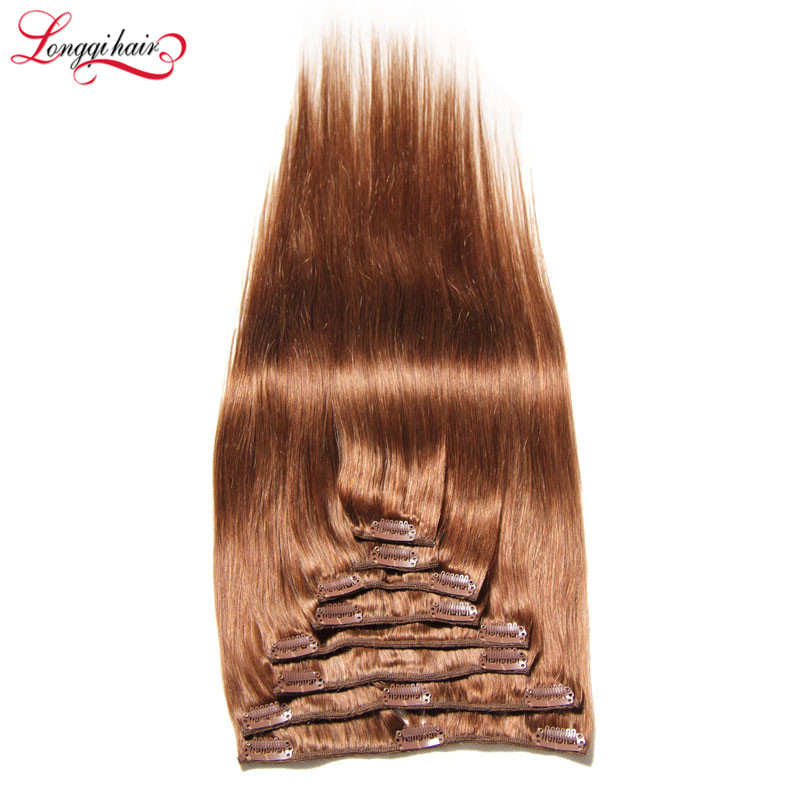 Silky Straight Blonde Copper Brown Hair Color Cheap Brazilian Human Hair Clip In Hair Extension